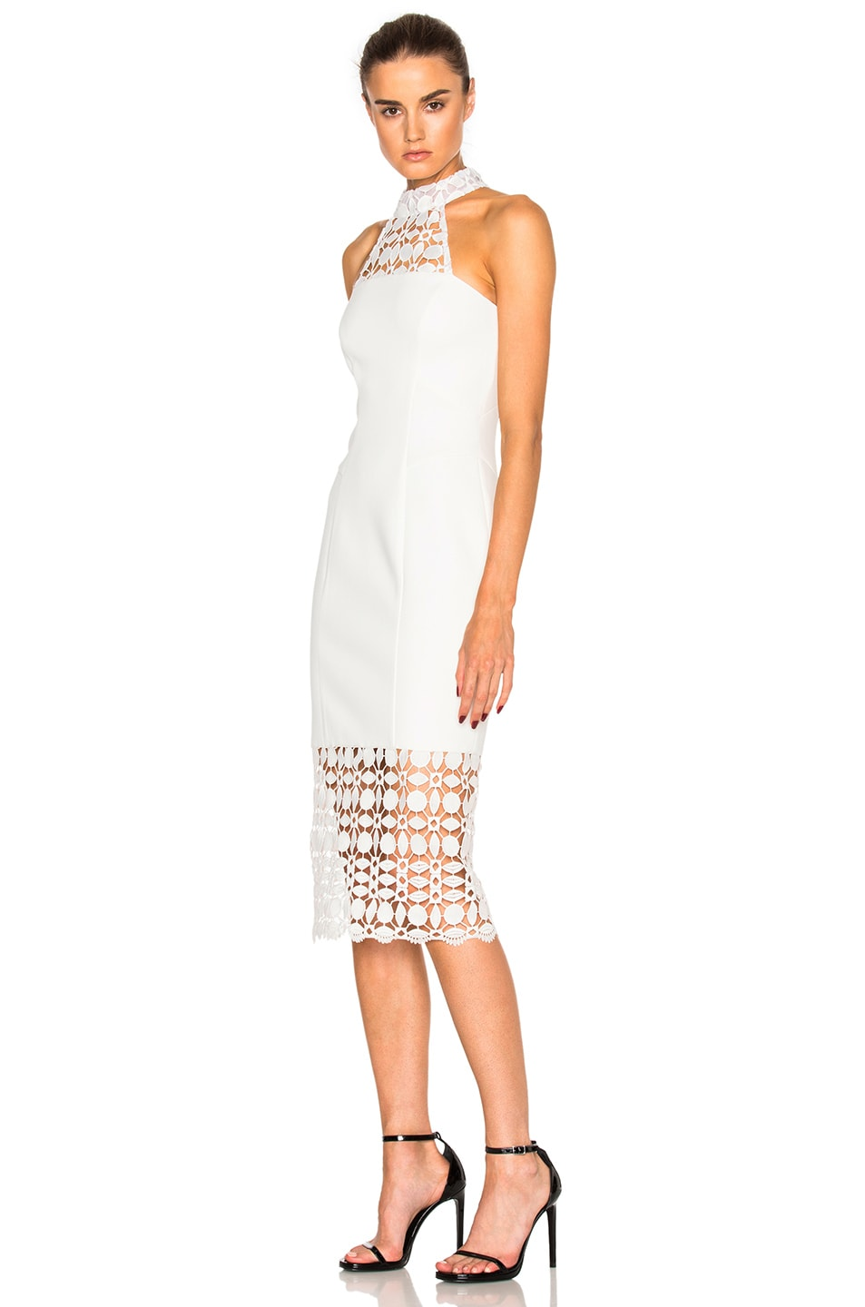 Image 2 of NICHOLAS Mosaic Lace Halter Dress in Ivory