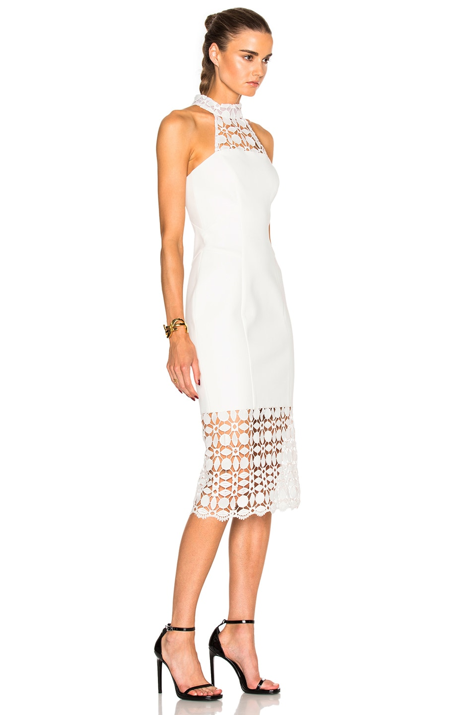 Image 3 of NICHOLAS Mosaic Lace Halter Dress in Ivory