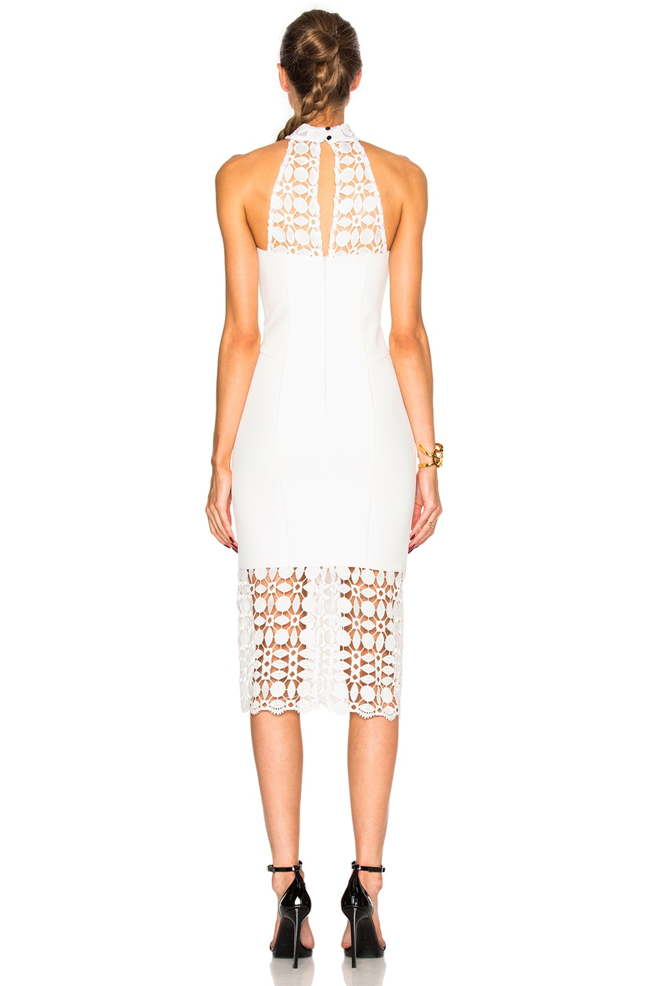 Image 4 of NICHOLAS Mosaic Lace Halter Dress in Ivory