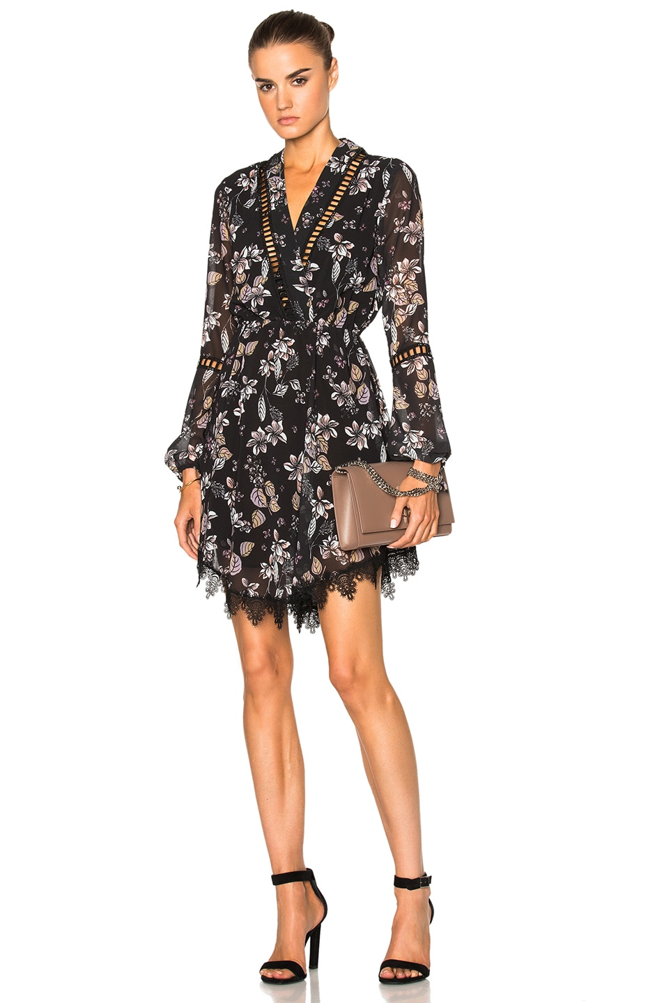Image 1 of NICHOLAS Tie Neck Floral Dress in Water Color