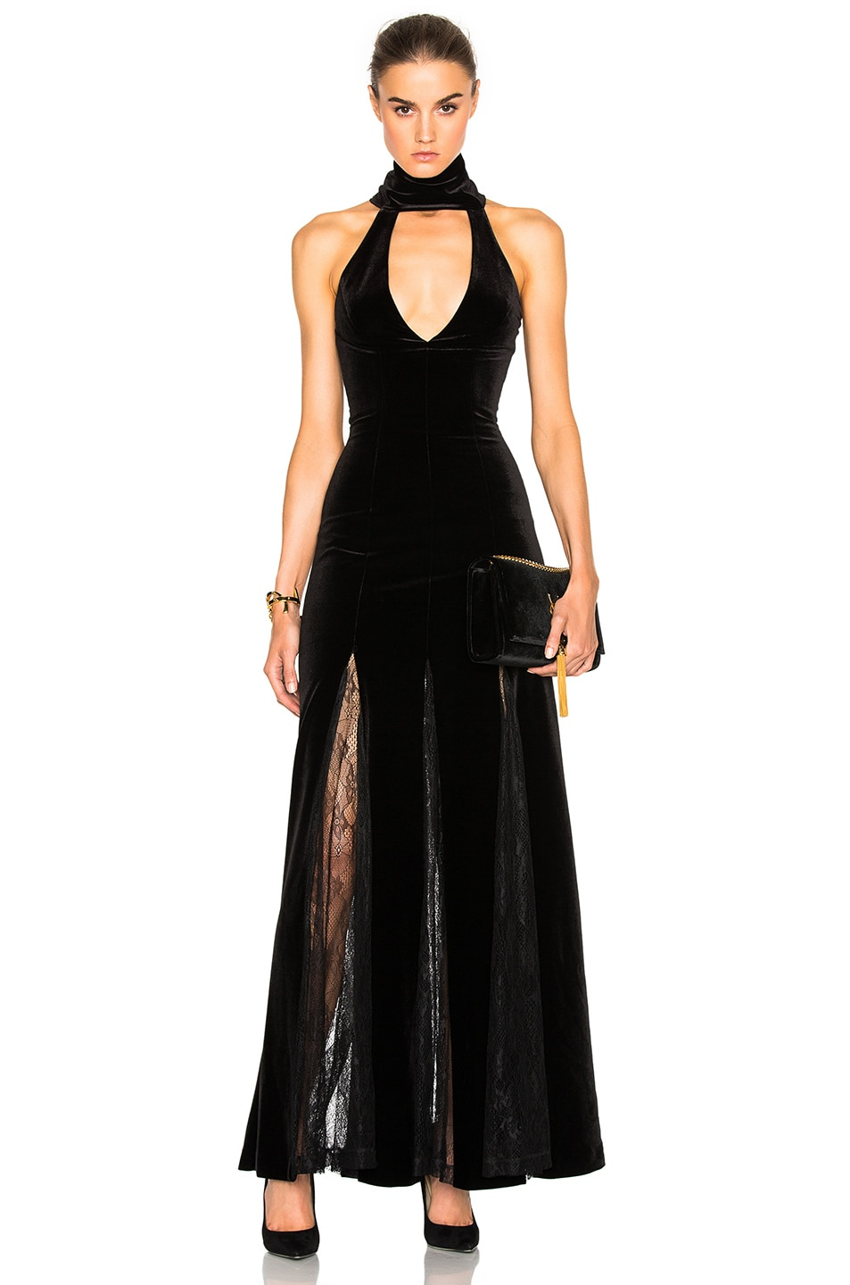 Image 1 of NICHOLAS Velvet Lace Insert Gown in Black