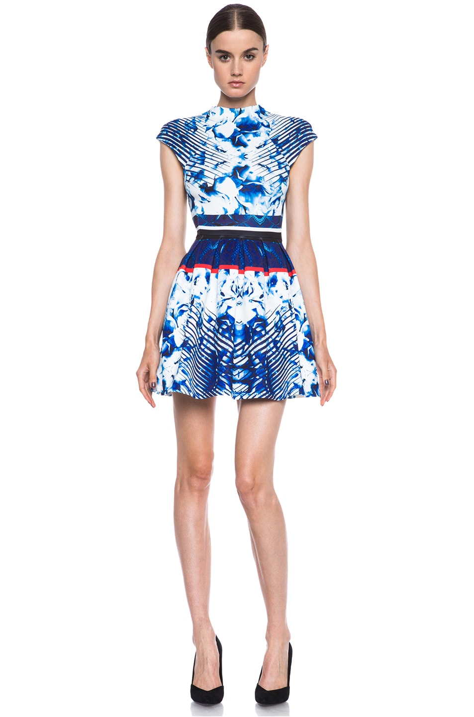Image 1 of NICHOLAS High Neck Box Pleat Poly Dress in Blue Multi