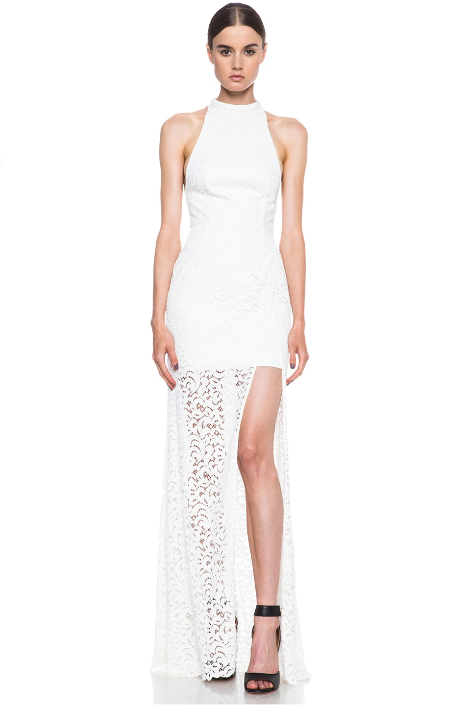 Image 1 of NICHOLAS Paisley Lace Knit Gown in Ivory