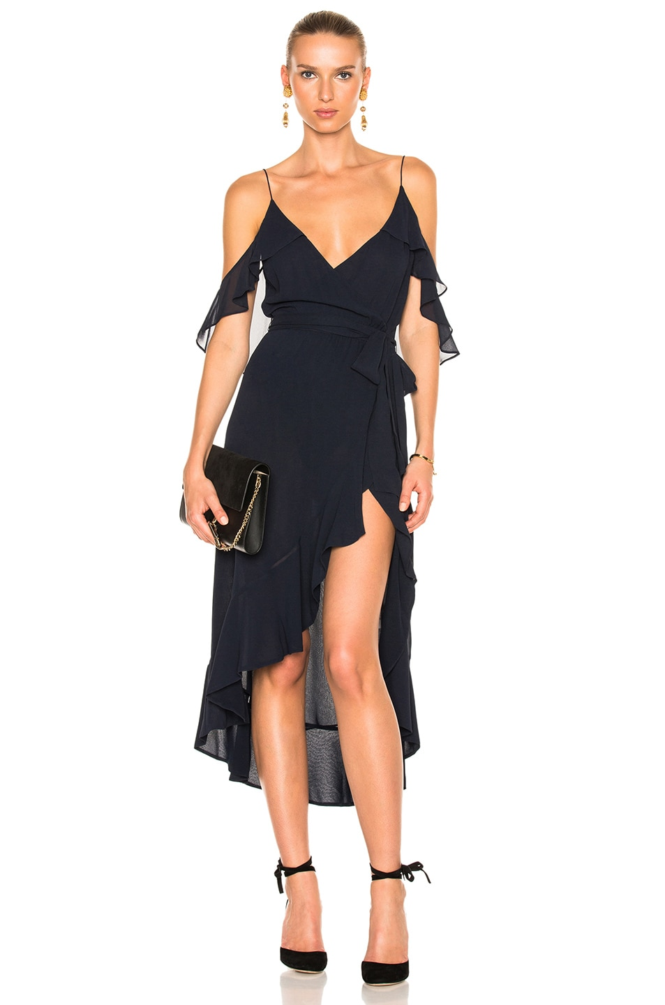 Image 1 of NICHOLAS Georgette Wrap Dress in Navy
