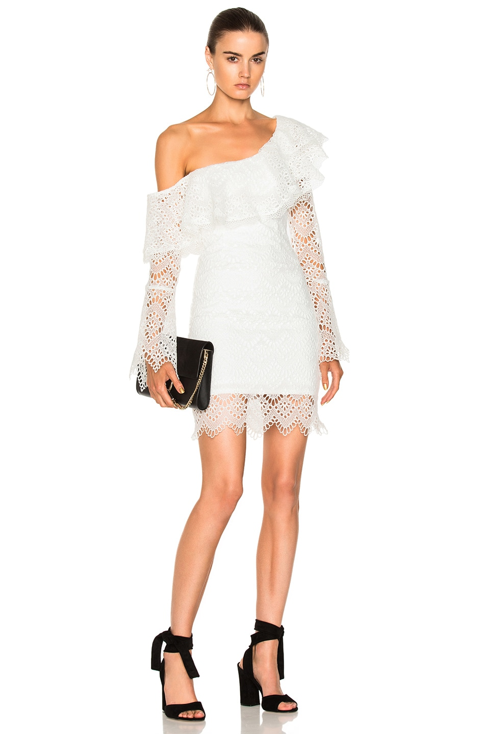 Image 1 of NICHOLAS Antique Lace One Shoulder Dress in Antique White