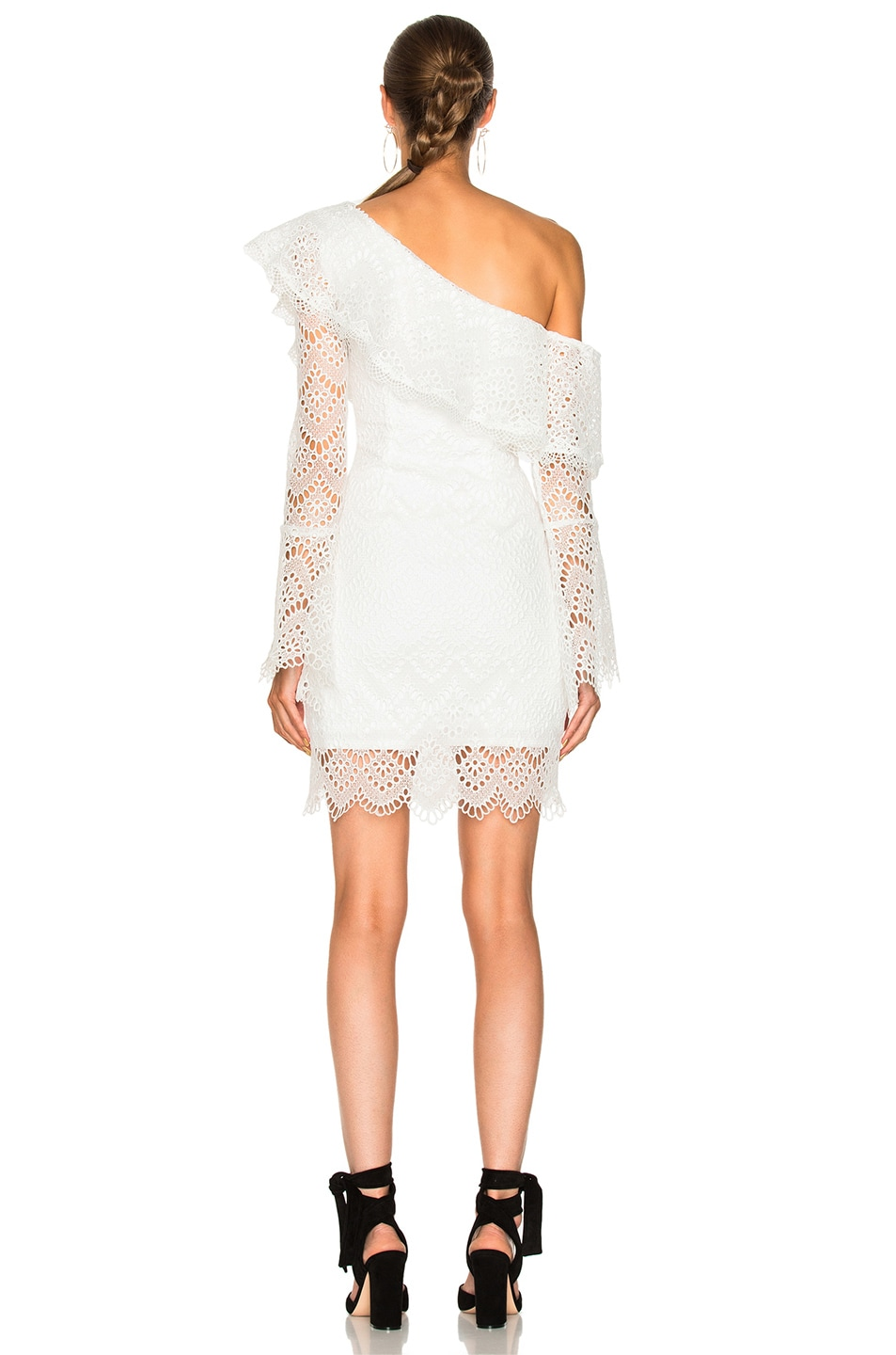 white lace one shoulder dress