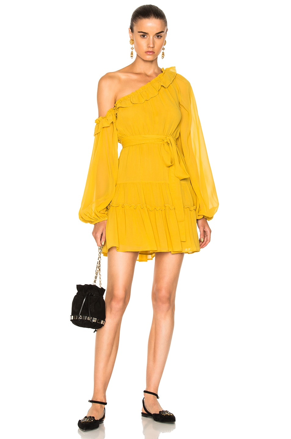 Image 1 of NICHOLAS for FWRD One Shoulder Tiered Mini Dress in Saffron