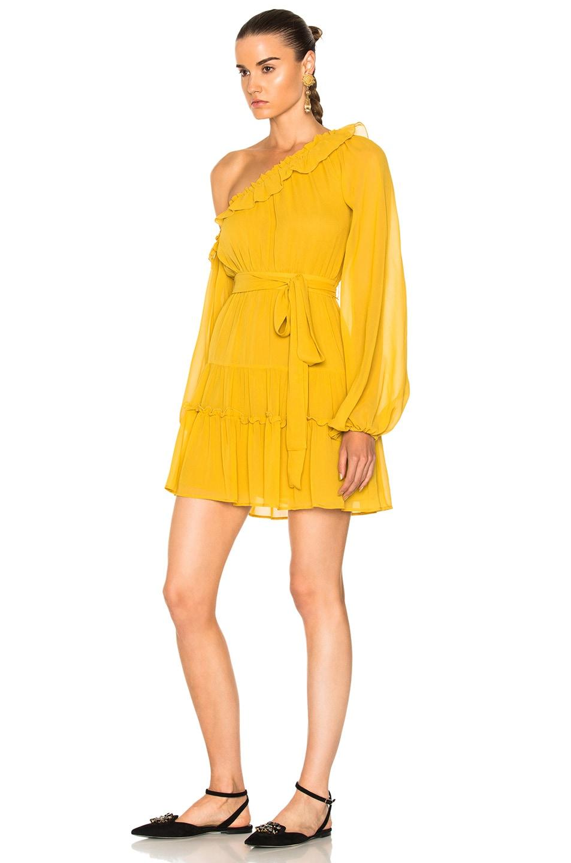 Image 3 of NICHOLAS for FWRD One Shoulder Tiered Mini Dress in Saffron