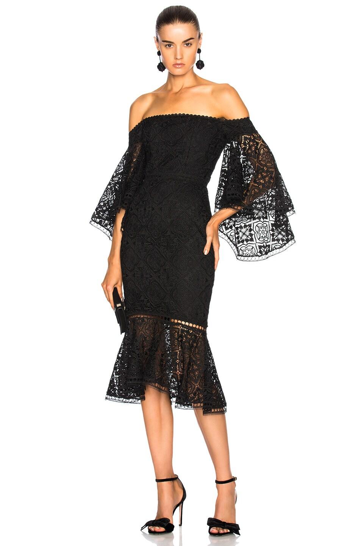 NICHOLAS Moroccan Tile Off Shoulder Midi Dress in Black