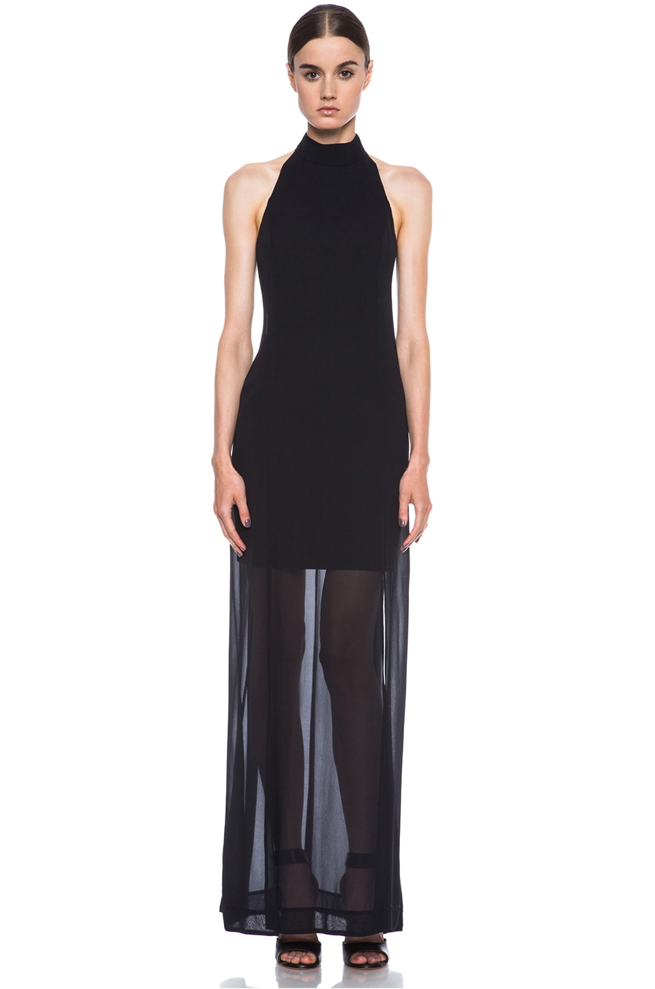 Image 1 of NICHOLAS Halter Silk Gown in Black