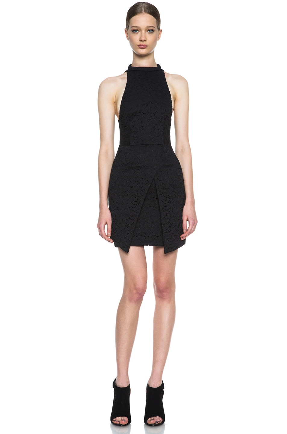 Image 1 of NICHOLAS Roll Neck Wrap Lace Knit Dress in Black