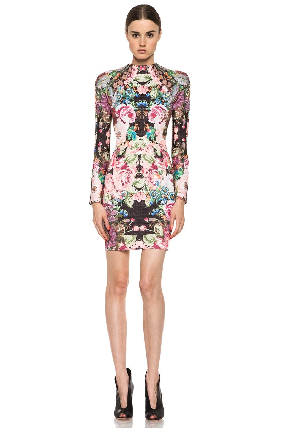 Image 1 of NICHOLAS Tapestry Print Scuba Long Sleeve Dress in Multi