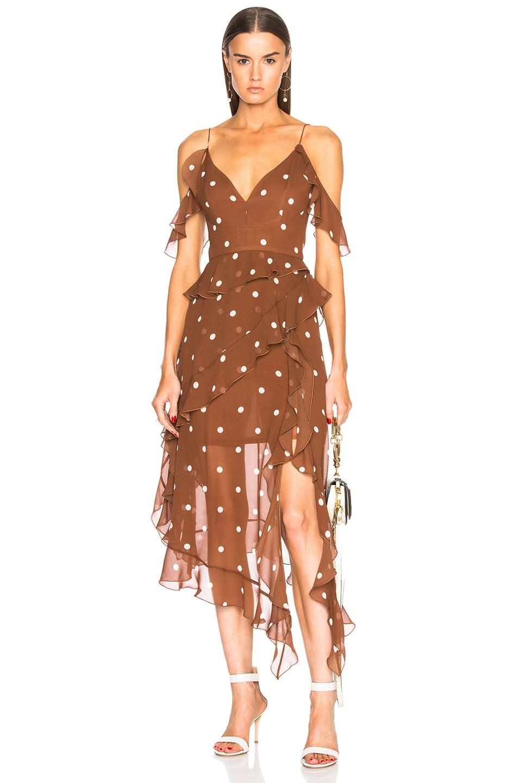 NICHOLAS Cold Shoulder Dress in Brown,Geometric Print