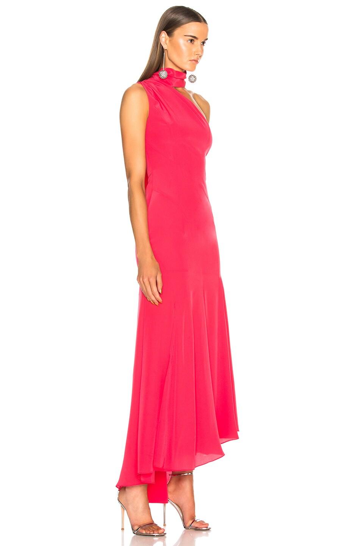 Image 2 of NICHOLAS Tie Neck Maxi Dress in Hot Coral