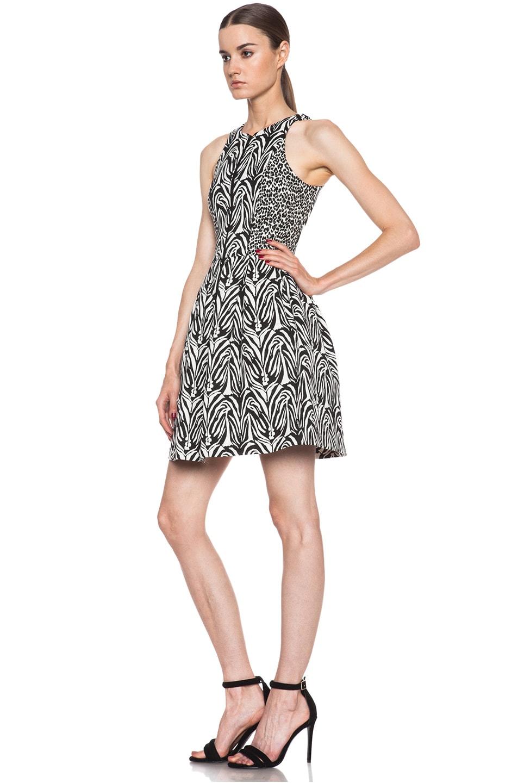 Image 2 of NICHOLAS Zebra Jacquard Zip Front Dress in White & Black