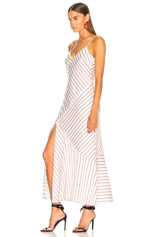 Image 3 of NICHOLAS Stripe Slip Panel Dress in White & Red