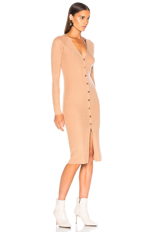 Image 2 of NICHOLAS Merino Rib Cardigan Dress in Nude