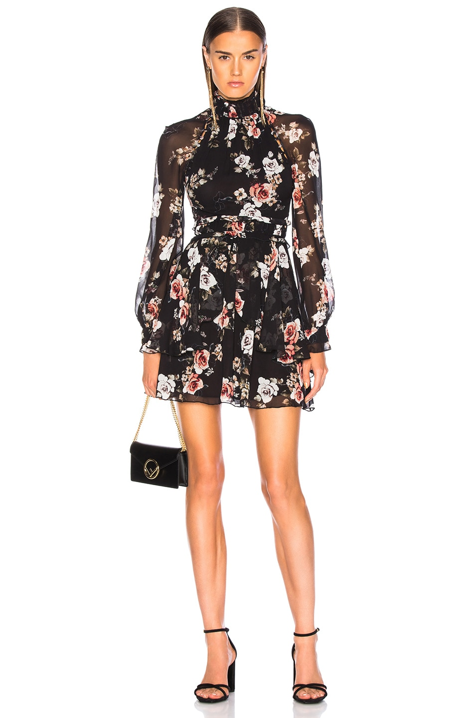 Image 1 of NICHOLAS High Neck Mini Dress in Black Rose