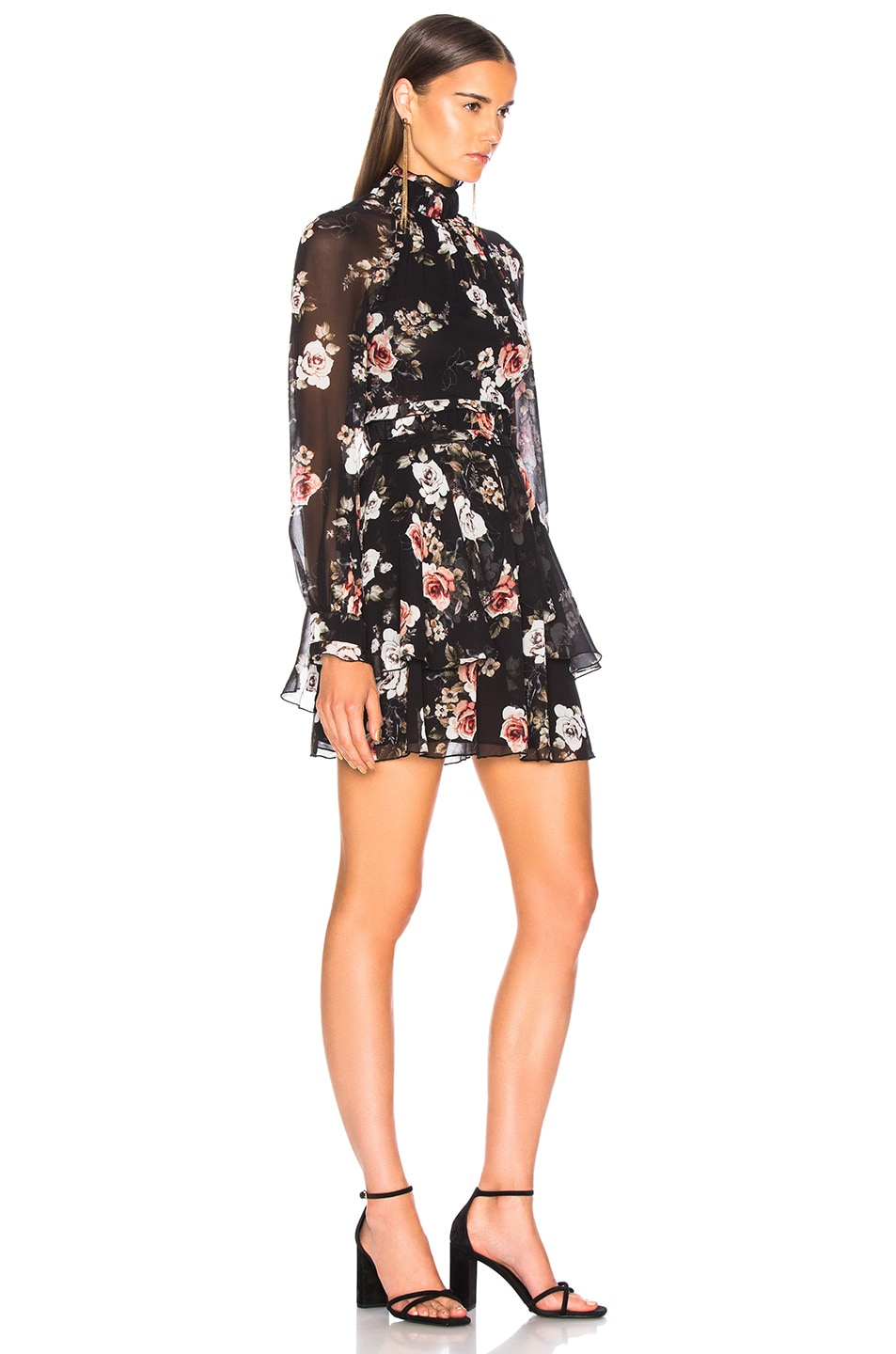 Image 2 of NICHOLAS High Neck Mini Dress in Black Rose