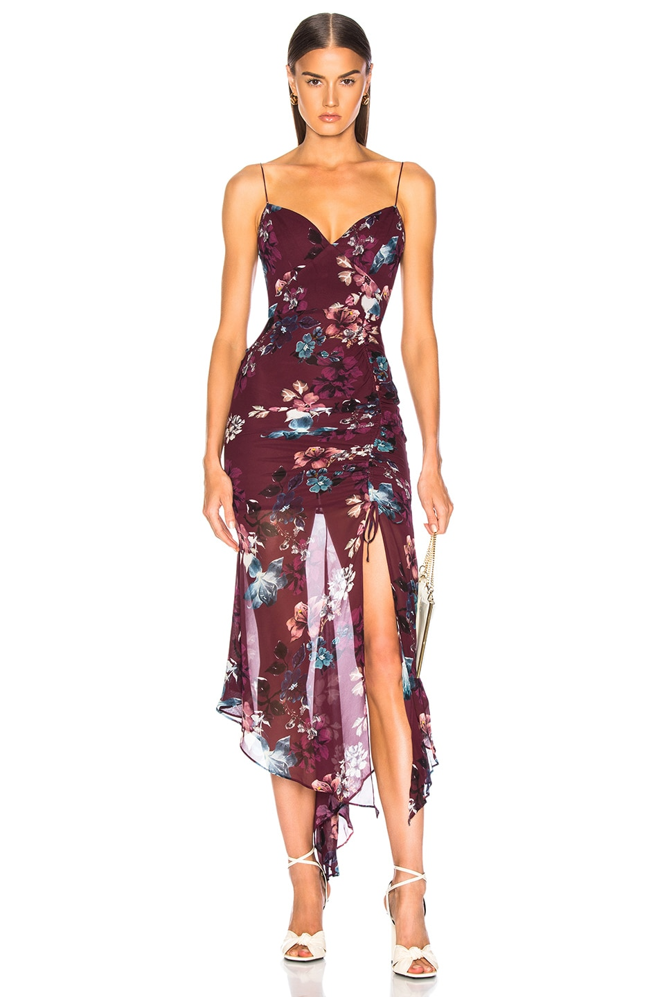 Image 1 of NICHOLAS Floral Drawstring Dress in Burgundy