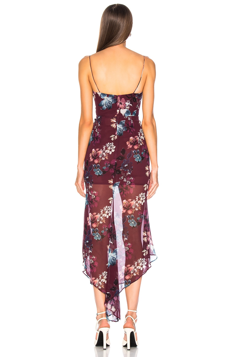 Image 3 of NICHOLAS Floral Drawstring Dress in Burgundy