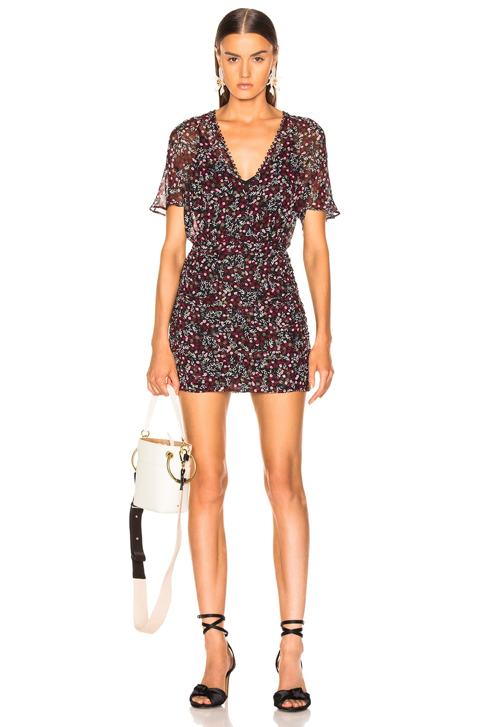 Image 1 of NICHOLAS Mini Daisy Ruched Mini Dress in Floral
