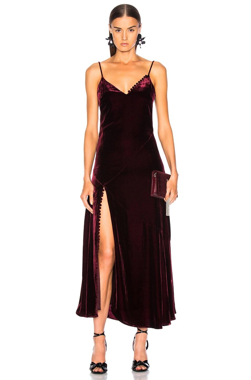 Image 1 of NICHOLAS Silk Velvet Slip Panel Dress in Burgundy
