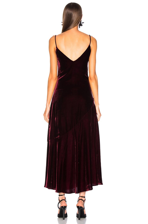 Image 3 of NICHOLAS Silk Velvet Slip Panel Dress in Burgundy