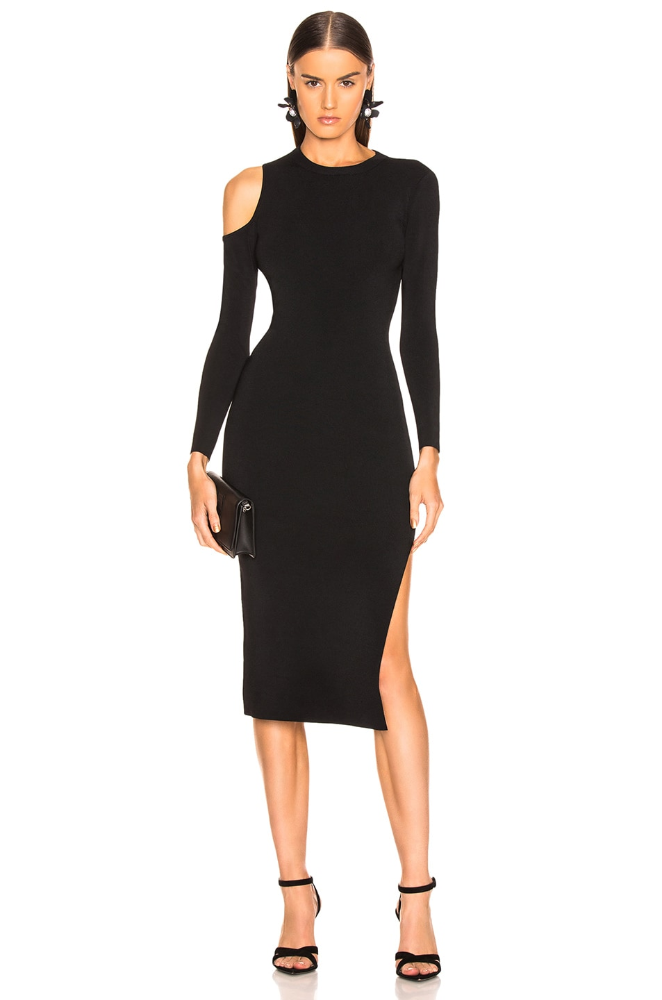 Image 1 of NICHOLAS Compact Cold Shoulder Dress in Black