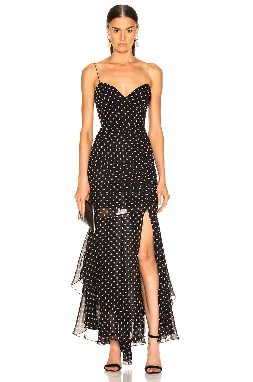 Image 1 of NICHOLAS Polka Dot Drawstring Dress in Black
