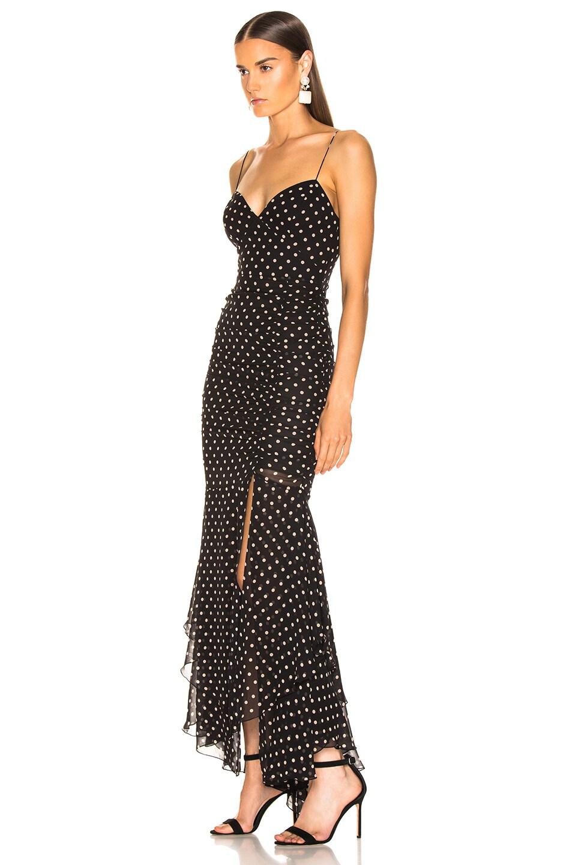 Image 3 of NICHOLAS Polka Dot Drawstring Dress in Black