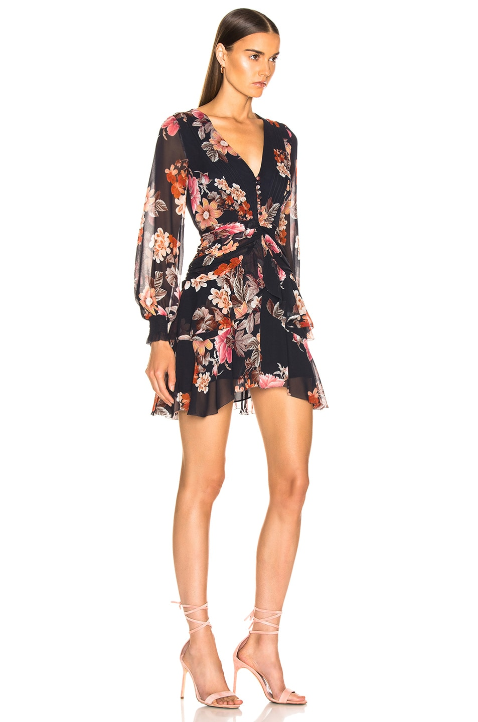 Image 2 of NICHOLAS Rust Floral Pintuck Mini Dress in Navy