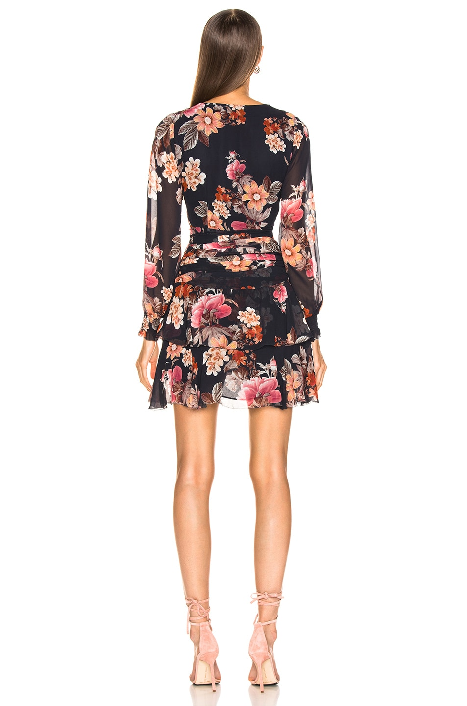 Image 3 of NICHOLAS Rust Floral Pintuck Mini Dress in Navy