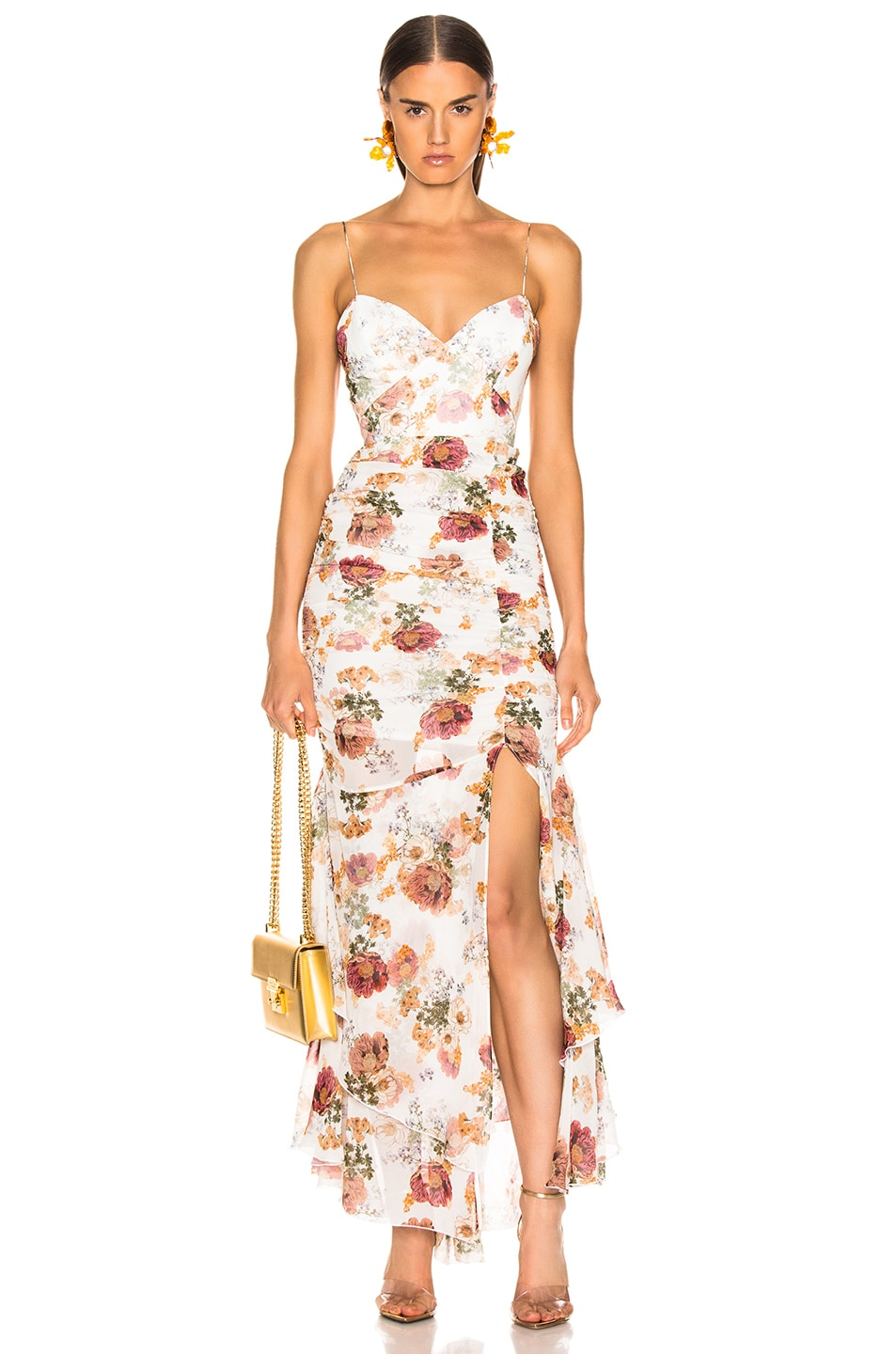 Image 1 of NICHOLAS Floral Drawstring Dress in White
