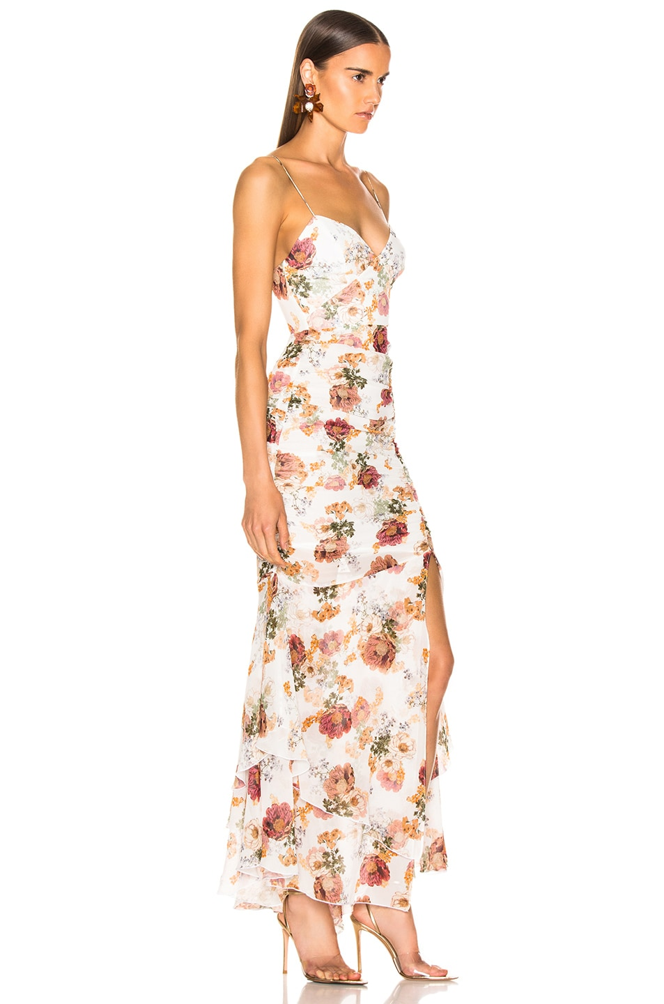 Image 2 of NICHOLAS Floral Drawstring Dress in White