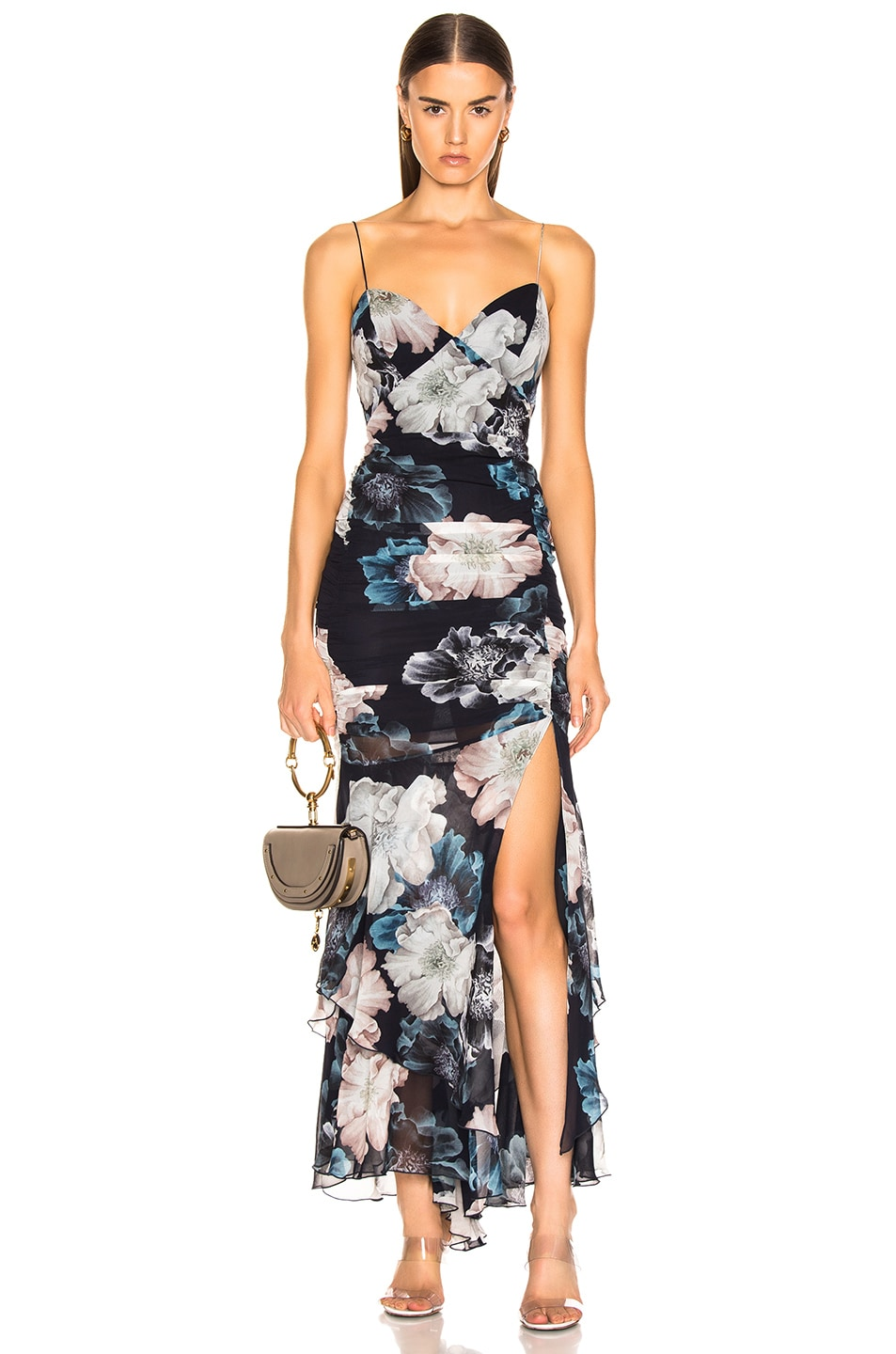 Image 1 of NICHOLAS Floral Drawstring Dress in Midnight