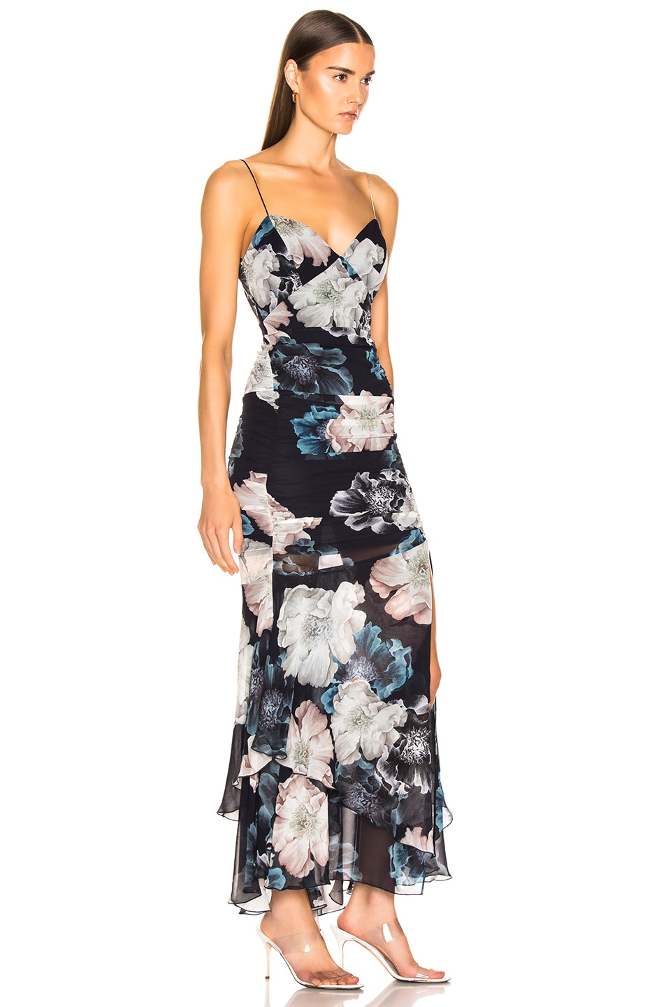 Image 2 of NICHOLAS Floral Drawstring Dress in Midnight