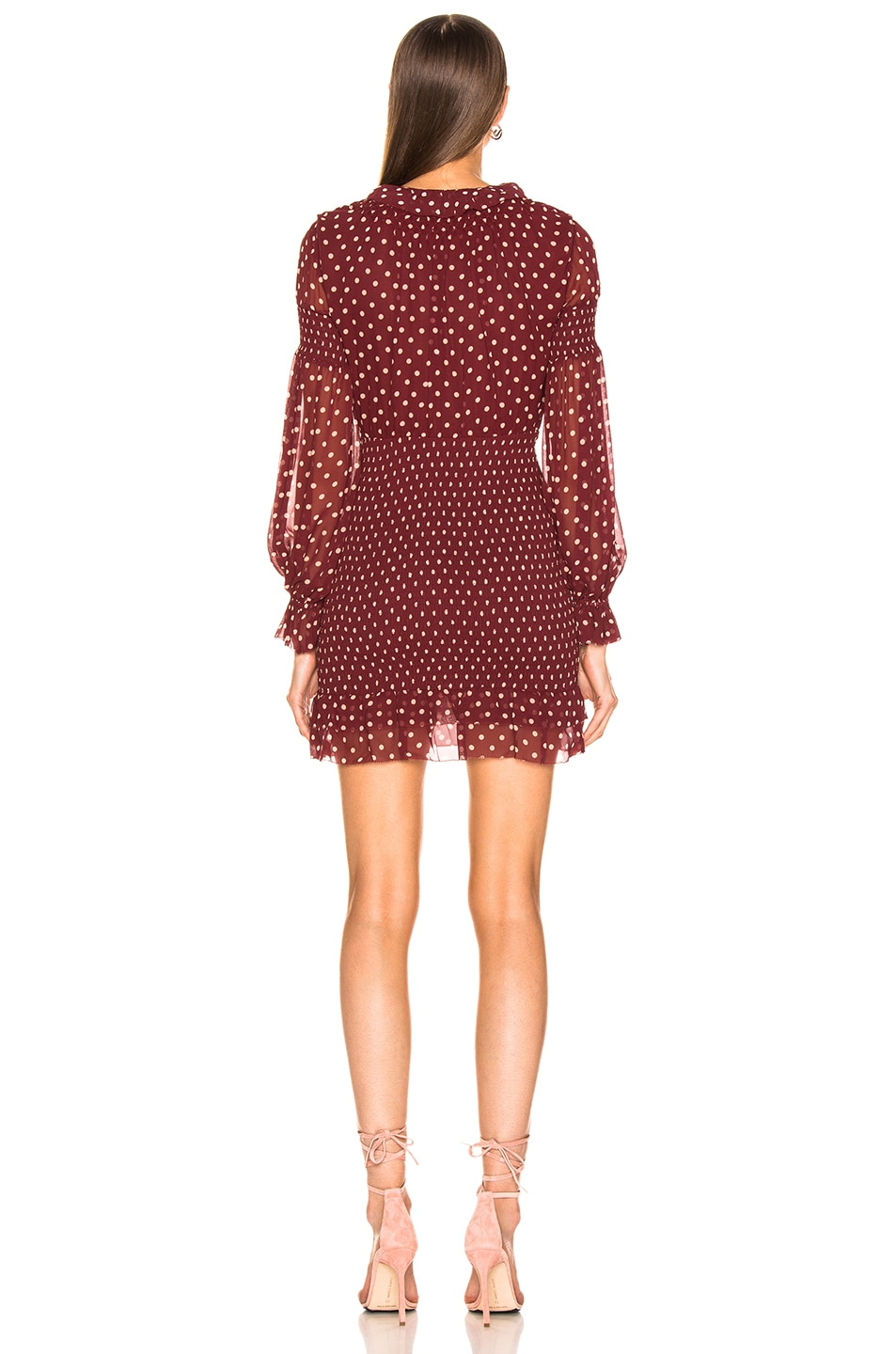 Image 3 of NICHOLAS Polka Dot Smocked Dress in Oxblood