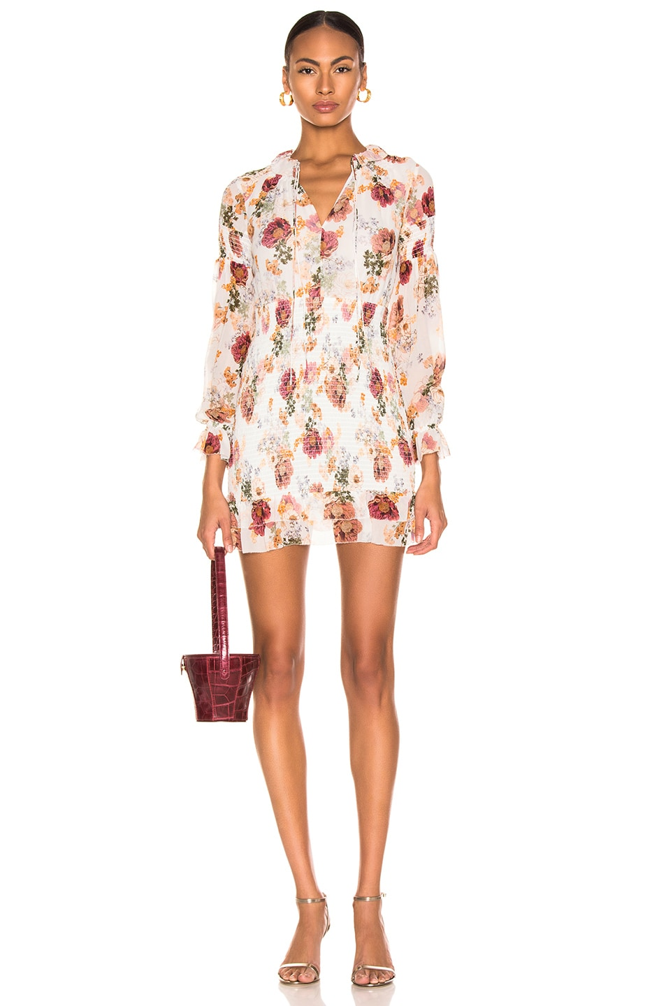 Image 1 of NICHOLAS Floral Smocked Mini Dress in White