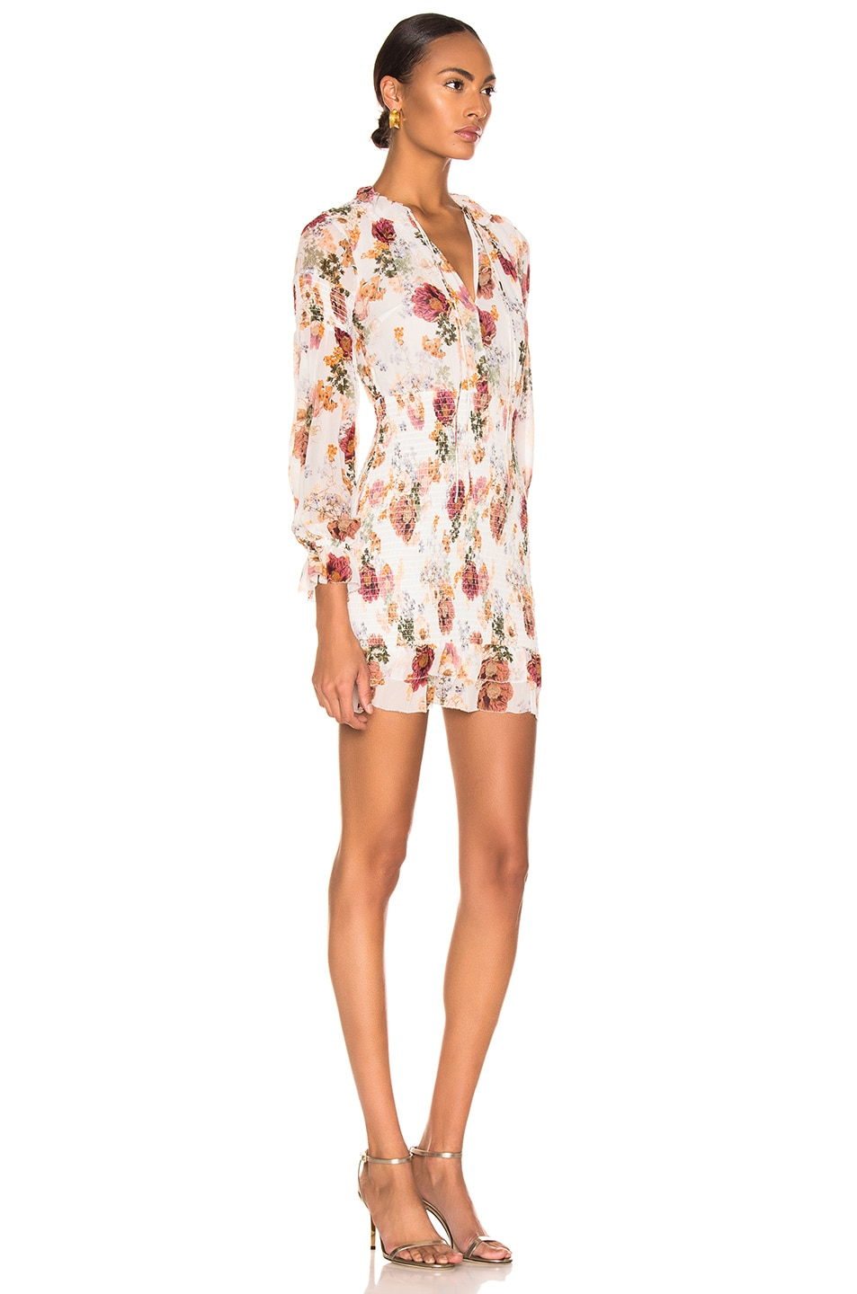 Image 2 of NICHOLAS Floral Smocked Mini Dress in White