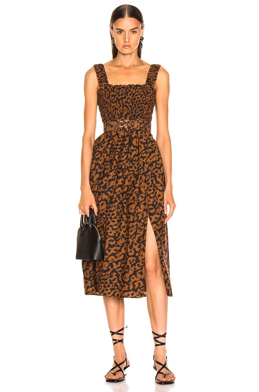 Image 1 of NICHOLAS Smocked Apron Dress in Leopard