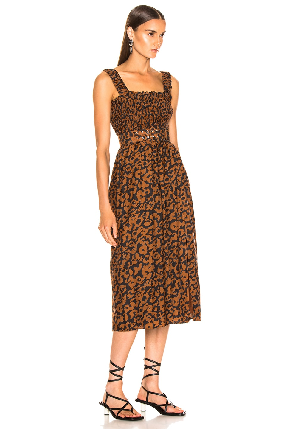 Image 2 of NICHOLAS Smocked Apron Dress in Leopard