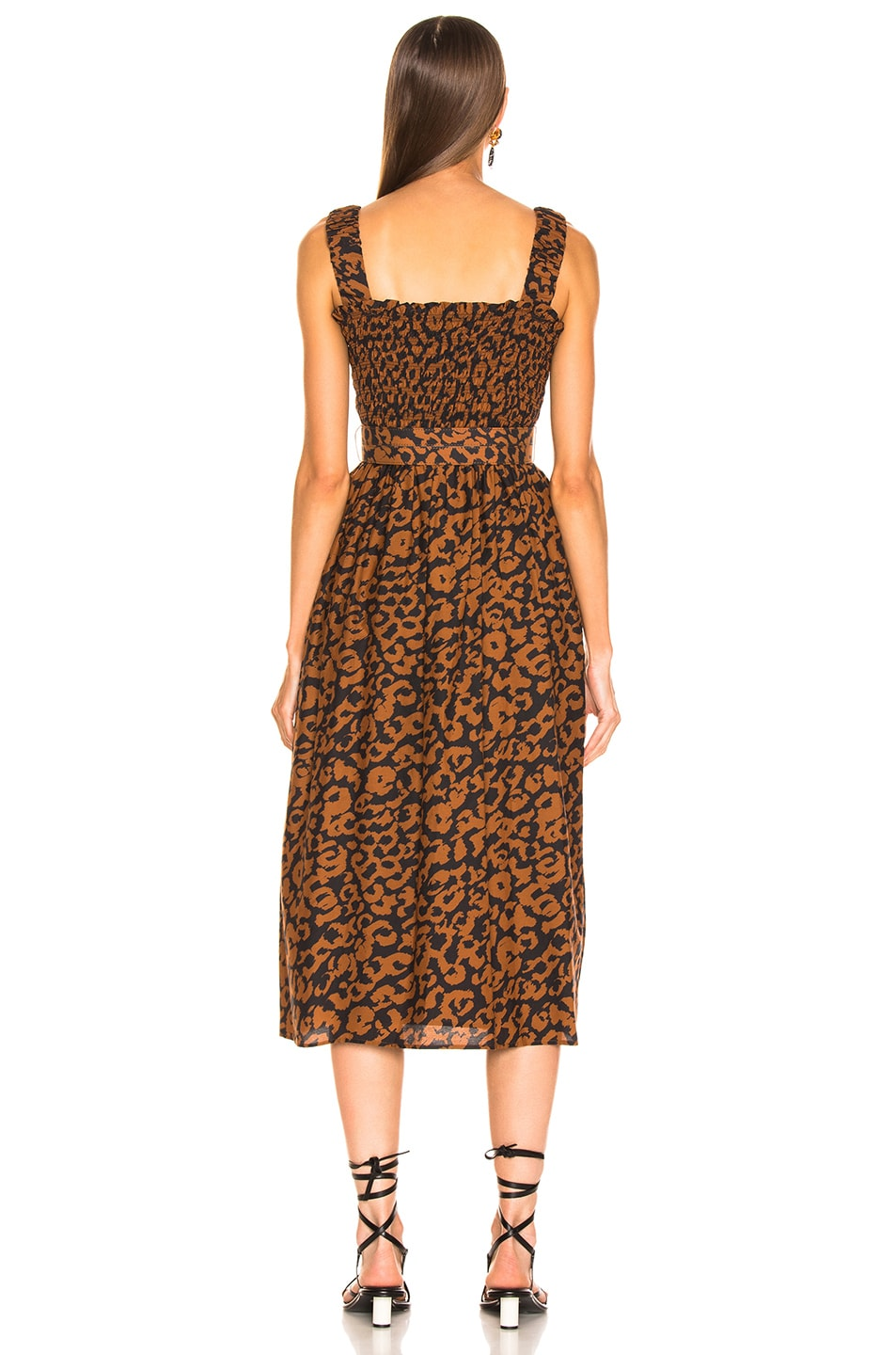 Image 4 of NICHOLAS Smocked Apron Dress in Leopard