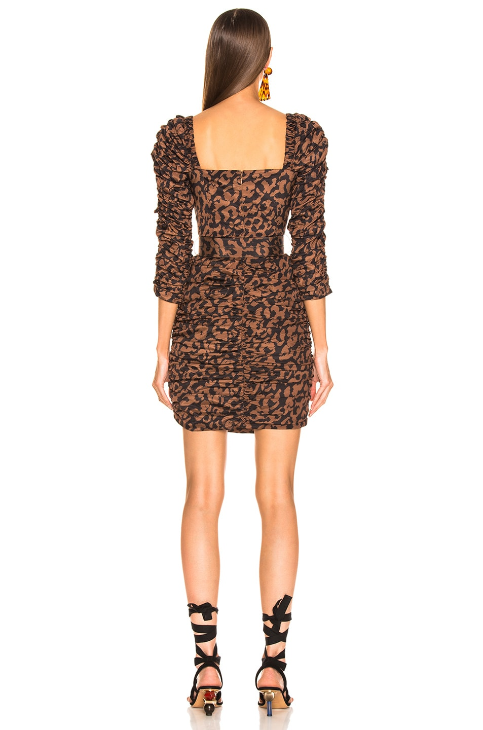 Image 3 of NICHOLAS Ruched Mini Dress in Black Leopard