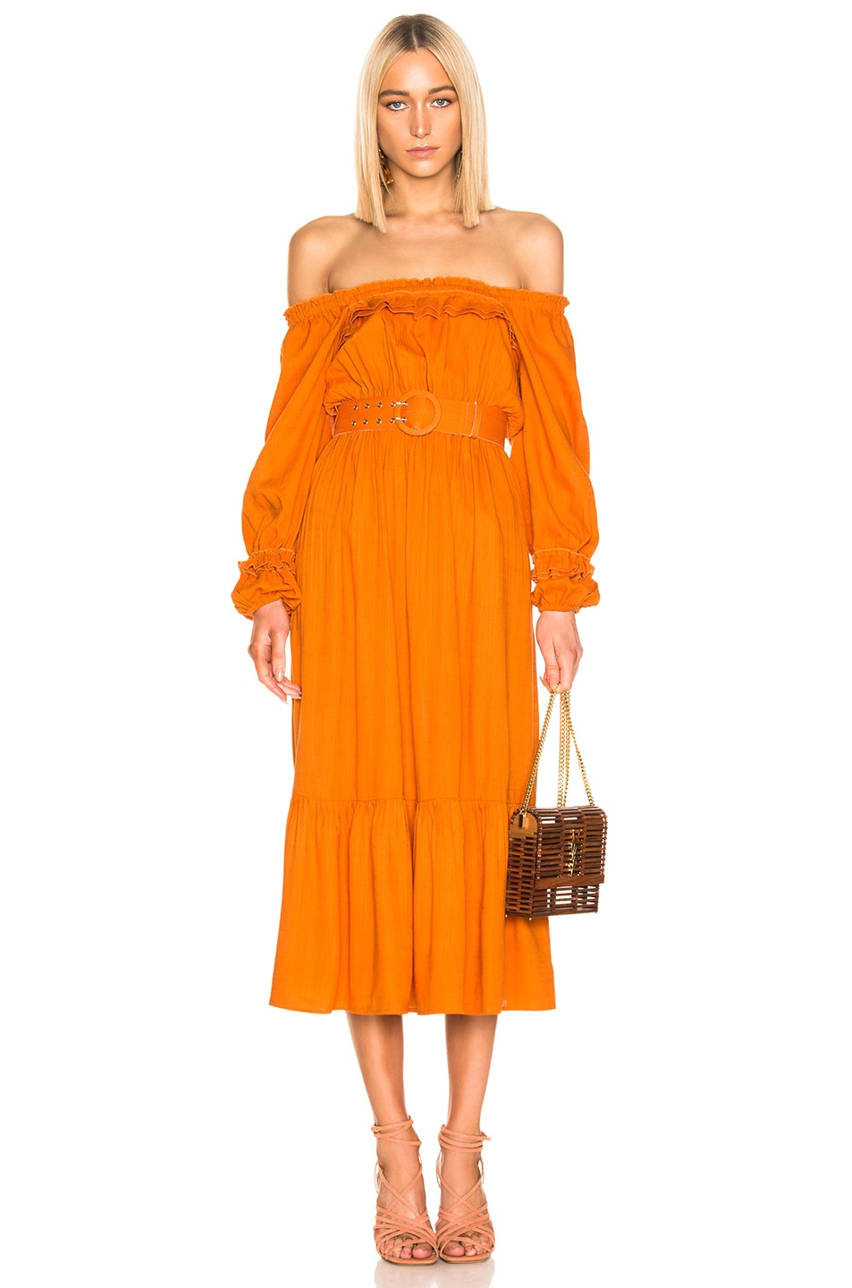 Image 1 of NICHOLAS Pleated Prairie Dress in Deep Orange