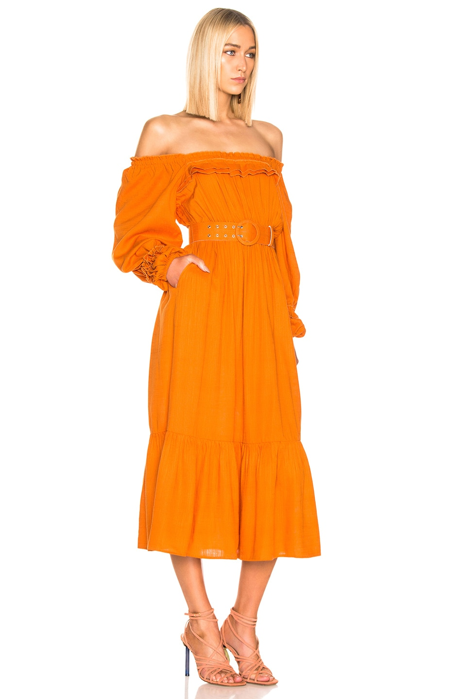 Image 2 of NICHOLAS Pleated Prairie Dress in Deep Orange
