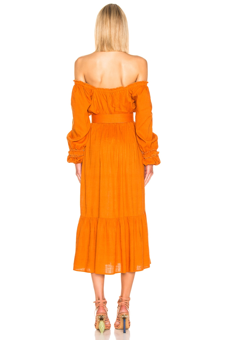 Image 3 of NICHOLAS Pleated Prairie Dress in Deep Orange