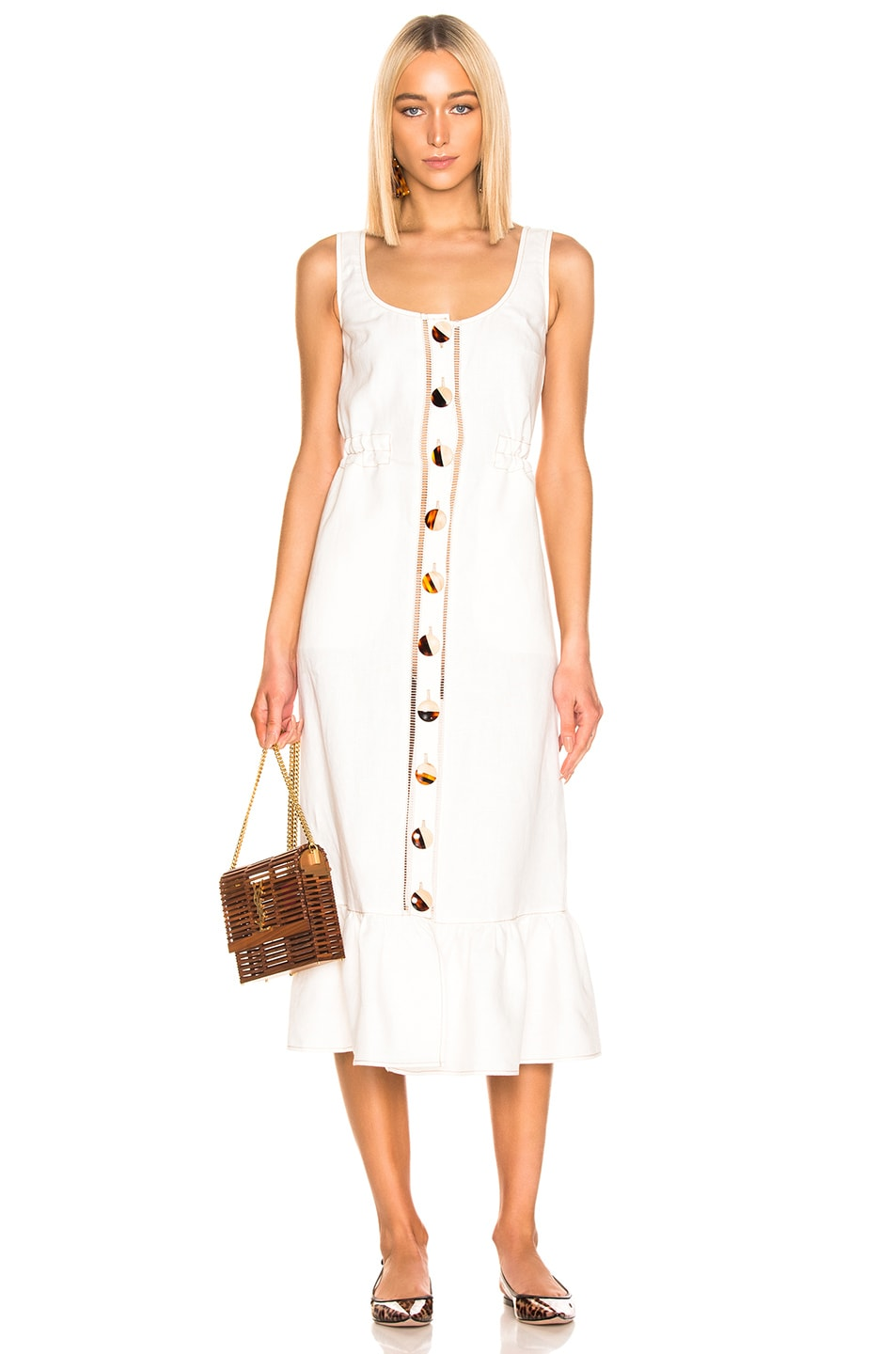 Image 1 of NICHOLAS Button Front Garden Dress in Ivory