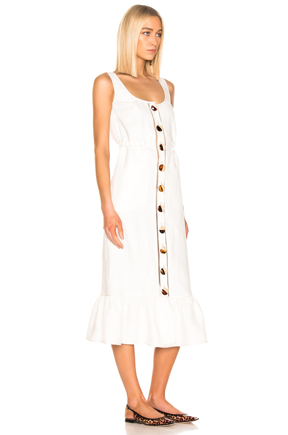 Image 2 of NICHOLAS Button Front Garden Dress in Ivory