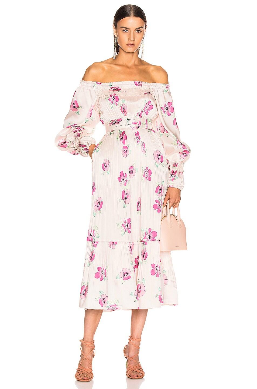 Image 1 of NICHOLAS Pleated Prairie Dress in Fuchsia Multi